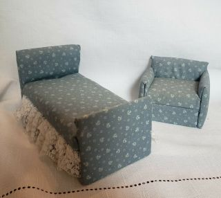 Dollhouse Miniature 1:12 Simple Bed And Chair Set