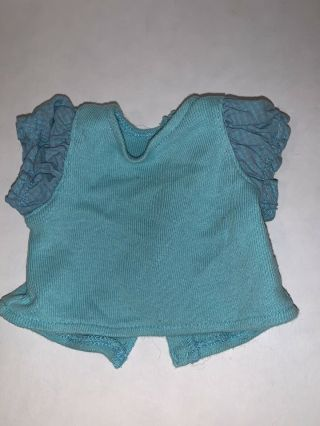 American Girl Doll Bitty Baby Teal Twin Shirt For Denim Jumper Outfit