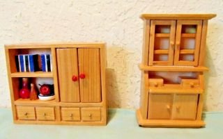 Dollhouse Miniature Furniture 1:12 Country Kitchen Hutch Cupboard Pantry Filled