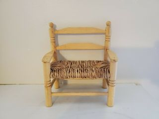 """Wooden Doll Bear Bench Chair Woven Seat,  Great Display Piece 7 """" Tall Spain"""