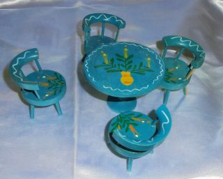 Vintage Doll House Accessories,  Wood Table,  Chairs,  Blue Set