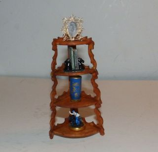 Dollhouse Wooden Corner Knick Knack Shelving Unit Handmade Ooak With Items