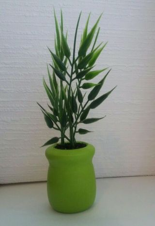Plant In Olive Green Planter Custom Hand Made 1:6 Scale (small)