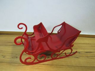 Dollhouse Miniatures,  Sleigh,  Red Metal,  1/24 (half) Scale