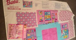 "Barbie "" Fold And Go "" Fabric Panel Bedroom Sewing Sew 34 "" X 60 "" Uncut"