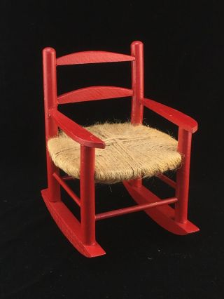 "8 "" High Doll Or Bear Rocking Chair Red Painted With Woven Seat"