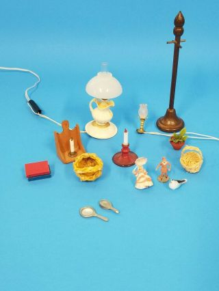 Doll House Asseories Lamps,  Baskets,  Figures And Coat Tree