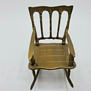 Vintage Brass Rocking Chair Dollhouse Small Rocker Doll Furniture