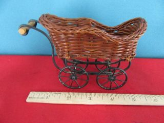 201.  Small Wicker Baby Buggy Cart With Black Accents Doll House Bear Furniture