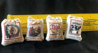 4 Miniature Feed Sacks General Store Dollhouse Furniture Cow Chicken Feed