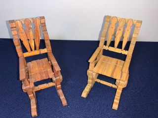 Pair Vintage Miniature Clothespin Wood Folk Art Rocking Chair 1:6 Scale Dollhous