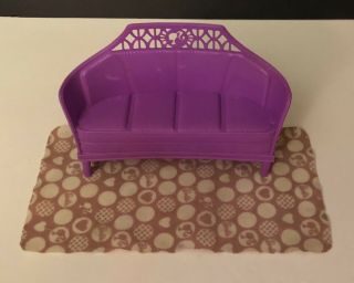 Barbie Doll Long Purple Sofa Couch With Barbie Rug