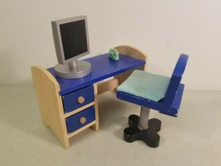 1:6 Scale Wooden Dollhouse Furniture: Desk,  Chair,  Computer & Phone