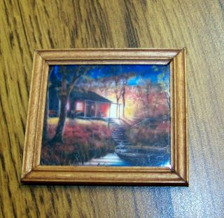 "Miniature Dollhouse Handcrafted Wooden Framed Picture "" Cabin On Lake W/ Boat """