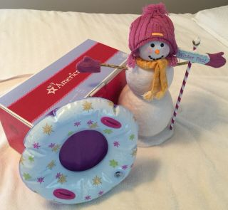 "Euc American Girl 18 "" Doll Snow Much Fun Snowman Sled Mittens Scarf Toy Play Set"