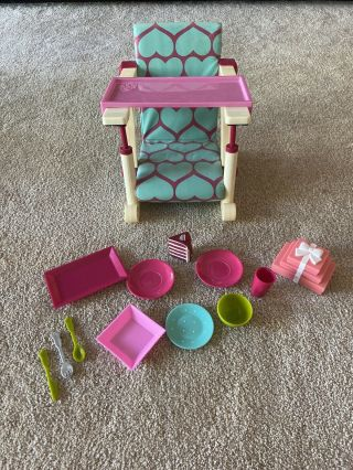 Doll High Chair,  Clip - On Table Chair For 18 In Dolls With Plates And Accessories