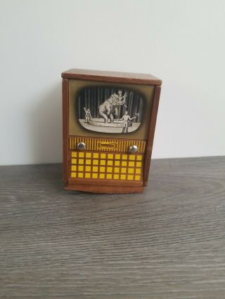 Doll Furniture Miniature Television Strombecker Playthings Walnut 1:12