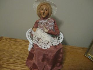 Byers Choice Victorian Lady Sitting On A Wicker Chair Holding Baby From Carolers