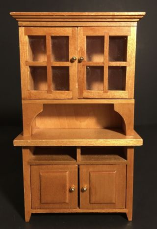 Light Wood Miniature 1:12 Scale Dollhouse Hutch/cabinet