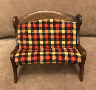 Soft Corduroy Red/yellow /black Upholstered Couch For Larger Doll House