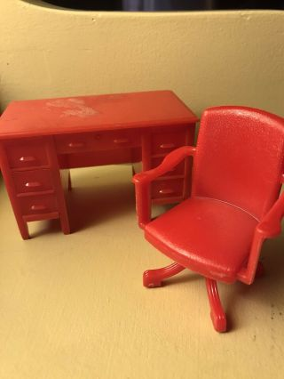 Vintage 1050s Renwal Dollhouse Furniture Red Office Desk And Swivel Chair
