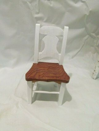 7 Inch White Painted Doll Or Bear Chair