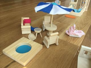 Wood Doll House Furniture - Hearthsong,  Plan Toys,  Outdoor Fun