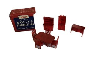 Old Allied Dollhouse Dining Room Furniture 8 Pc Box