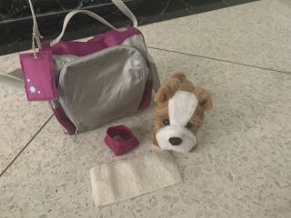 American Girl Pet Bulldog Meatloaf Retired,  Carrying Case,  Bowl And Towel