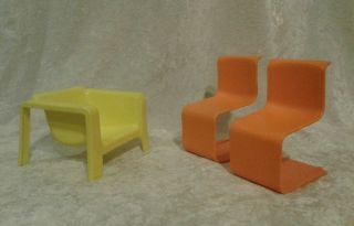 Barbie Townhouse Mod Furniture Couch W Chairs Yellow Orange 1973 Living Room Set