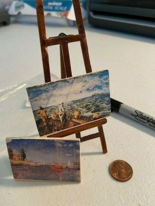 1:12 Dollhouse Miniatures Artist Easel With Paintings