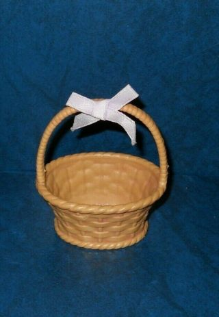 Woven Molded Plastic Basket For Barbie Or Other Dolls Miniature Handle