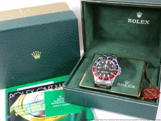 Vintage Stainless Steel Rolex Gmt Master 1675 Mens Watch Box Booklet