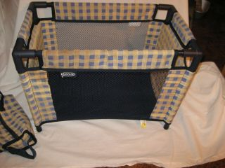 Graco Tollytots Doll Playpen Plaid Blue Collapsible With Carry Case