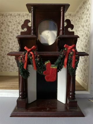 Dollhouse Fireplace With Christmas Wreath & Tools