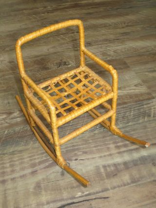 """Doll Size Wicker Rocking Chair - 12 """" Size Doll Or Stuffed Animal"""