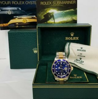 Rolex 18k Gold Ss Submariner 16613 Blue On Blue Style Clasp Box Booklets