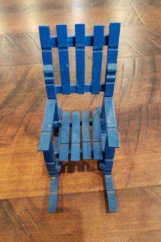 """Wooden Handcrafted Doll Size Clothespin Rocking Chair 7 """" Blue Vintage,  35 Years,"""