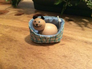 Elc Early Learning Centre Wooden Dolls House Pet Cat Kitten Cosy Basket Bed