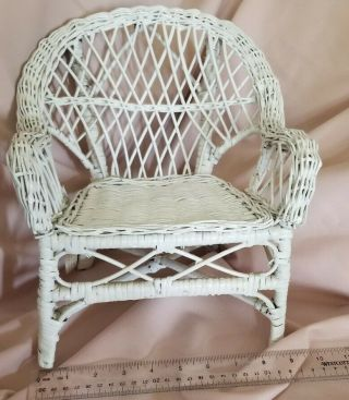 """Wicker Doll Size Chair,  About 11 """" Tall,  Seat 7 """" Wide.  Painted White."""