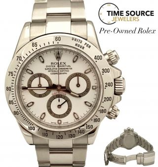 Rolex Daytona Stainless Steel Fat Buckle 2009 116520 White Dial 40mm Watch