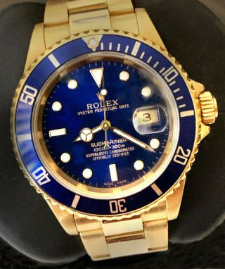 Rolex Submariner 16618,  18k Yg,  No Holes Case,  2005, .