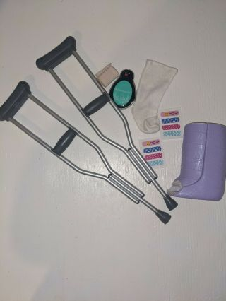 American Girl Doll Accessories Feel Better Kit Crutches Casts Band - Aid Stickers
