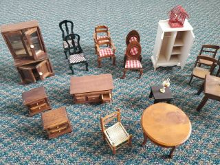 Wooden Dollhouse Furniture Hutch Table Chairs