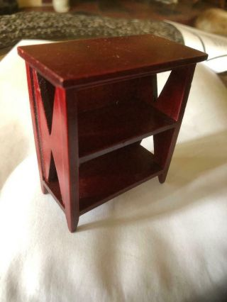 """Miniature Doll House Small 2 Shelves Book Case Red Toned Wood 2 3/4 """" High"""