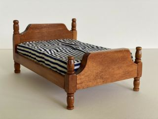 Miniature Dollhouse Wood Bed With Mattress