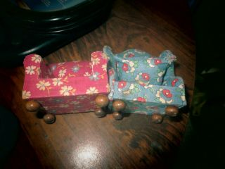 Two Very Old Dollhouse Chairs Wood/cloth Covered One Has 2 Small Tears