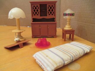 Fisher Price Fp Miniature Doll House Furniture Flaws 1980 Hutch Usa China Dishes