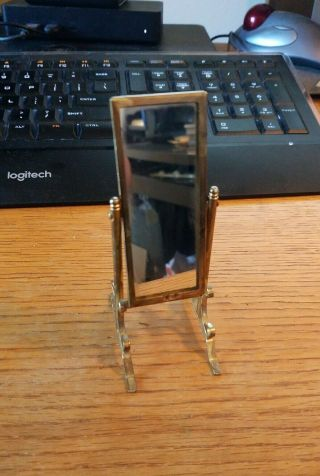 Doll House Miniature Full Length Standing Movable Mirror Gold Tone