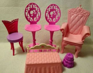 Unbranded Dollhouse Furniture • Barbie Size• Bright Pink Chairs (5) Pre - Owned